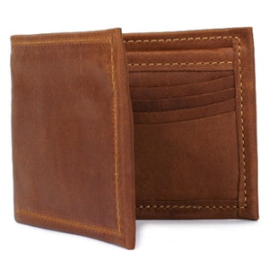 "Cognac Deluxe Bi-fold Leather Wallet offers a total of 10 ID and credit card slots and a full length divided bill compartment. Folded size 3.5"" x 4.5"""