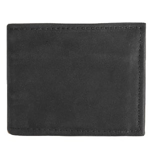"Black Basic Bi-fold Leather Wallet with 4 slide-in horizontal credit card/ID slots, full length divided bill compartment, and 1 vertical vinyl picture insert. Folded size 3.5"" x 4""."
