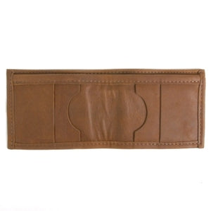 "Canyon Brown Basic Bi-fold Leather Wallet with 4 slide-in horizontal credit card/ID slots, full length divided bill compartment, and 1 vertical vinyl picture insert. Folded size 3.5"" x 4""."