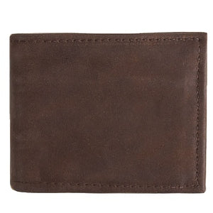 "Chocolate Brown Basic Bi-fold Leather Wallet with 4 slide-in horizontal credit card/ID slots, full length divided bill compartment, and 1 vertical vinyl picture insert. Folded size 3.5"" x 4""."