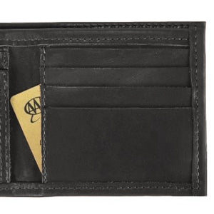 "Black Bi-fold Leather Credit Card and ID wallet, see-through ID pocket, holds up to 5 credit cards and 2 additional vertical pockets on the inside of the wallet. There is a hidden bill compartment in the full-length bill compartment of the wallet. Folded size 4"" x 4"""