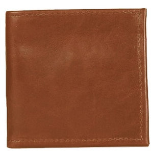 "Cognac Bi-fold Leather Credit Card and ID wallet, see-through ID pocket, holds up to 5 credit cards and 2 additional vertical pockets on the inside of the wallet. There is a hidden bill compartment in the full-length bill compartment of the wallet. Folded size 4"" x 4"""