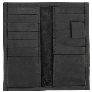 "Black Suit Coat Leather Wallet will slip into the breast pocket of your suit. 12 ID & Credit Card pockets, 2 vertical pockets, pen holder and checkbook & register pocket. Folded size 7"" x 3.5"""