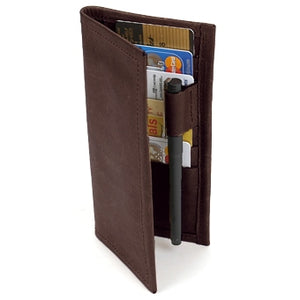 "Chocolate Suit Coat Leather Wallet will slip into the breast pocket of your suit. 12 ID & Credit Card pockets, 2 vertical pockets, pen holder and checkbook & register pocket. Folded size 7"" x 3.5"""