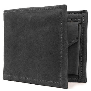 "Black leather Bi-fold wallet with snap coin pocket on the inside of the wallet. Size 4.5"" x 3.75"", 4 credit card slots, 2 vertical slide-in pockets, full length bill section and 2 additional slots behind the coin pocket."