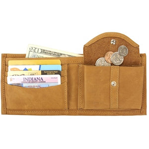"Canary Tan leather Bi-fold wallet with snap coin pocket on the inside of the wallet. Size 4.5"" x 3.75"", 4 credit card slots, 2 vertical slide-in pockets, full length bill section and 2 additional slots behind the coin pocket."