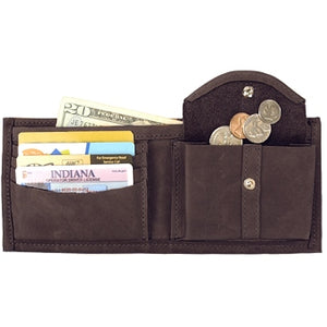 "Chocolate Brown leather Bi-fold wallet with snap coin pocket on the inside of the wallet. Size 4.5"" x 3.75"", 4 credit card slots, 2 vertical slide-in pockets, full length bill section and 2 additional slots behind the coin pocket."