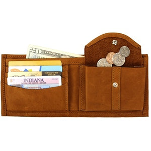 "Cognac leather Bi-fold wallet with snap coin pocket on the inside of the wallet. Size 4.5"" x 3.75"", 4 credit card slots, 2 vertical slide-in pockets, full length bill section and 2 additional slots behind the coin pocket."