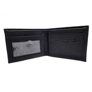 "Black Bifold ID Leather Wallet with clear insert for your ID, 4 vertical and 2 horizontal card slots and a bill compartment. Folded size: 3.5"" x 4.5"""