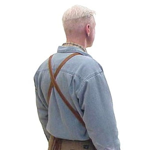 "Soft pocketed leather apron with cross back straps and ties at the waist. Regular 28"" long x 24.5"" wide"
