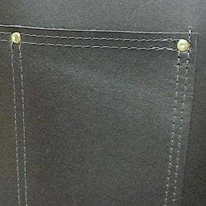 "Heavy duty leather apron with 3 riveted pockets, cross back straps and ties at the waist. Regular length 28"" long x 24.5"" wide"
