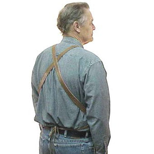 "Heavy duty long leather apron with 3 riveted pockets, cross back straps and ties at the waist. Long length 38"" long x 24.5"" wide"
