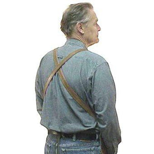 "Heavy duty leather apron, no pockets with cross back straps and ties at the waist. Regular length 28"" long x 24.5"" wide"