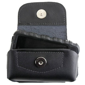Black Colossus Horizontal cell phone holder made from durable but flexible USA tanned leather. Fits on a belt with a permanent loop, magnetic snap closure, depth is roomy to get your hand in to grip the phone and has cut outs on the bottom to push the phone up.