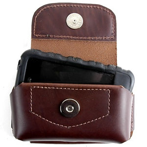 Dark Brown Colossus Horizontal cell phone holder made from durable but flexible USA tanned leather. Fits on a belt with a permanent loop, magnetic snap closure, depth is roomy to get your hand in to grip the phone and has cut outs on the bottom to push the phone up.