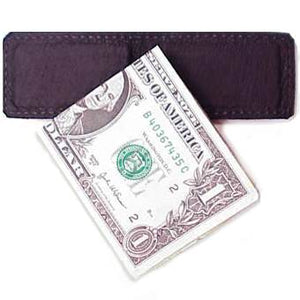 "Black Leather Magnetic Money Clip holds 12 bills, closed size 2.5"" x 1.75"""