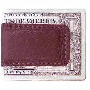 "Burgundy Leather Magnetic Money Clip holds 12 bills, closed size 2.5"" x 1.75"""