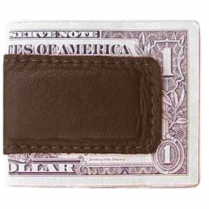 "Chocolate Brown Leather Magnetic Money Clip holds 12 bills, closed size 2.5"" x 1.75"""