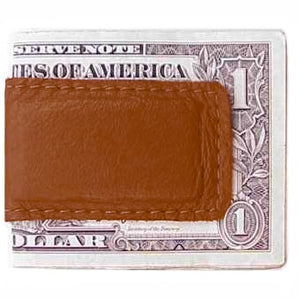 "Medium Brown Leather Magnetic Money Clip holds 12 bills, closed size 2.5"" x 1.75"""