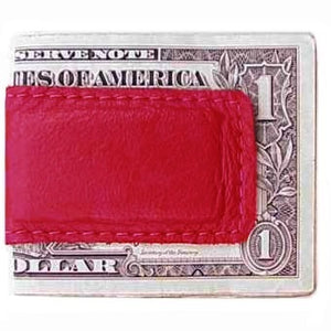 "Red Leather Magnetic Money Clip holds 12 bills, closed size 2.5"" x 1.75"""