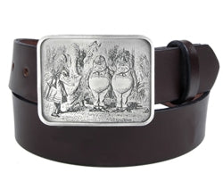 If you love Alice In Wonderland, this belt buckle is for you. The front has an image of Alice looking at Tweddle Dee and Tweedle Dum.