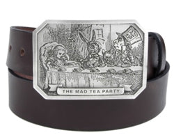 If you love Alice In Wonderland, this belt buckle is for you. The front has an image of the Madd Hatter Tea Party with the rabbit and Alice.
