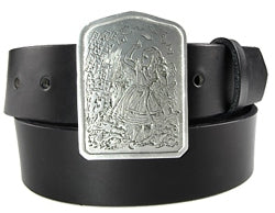 "Alice In Wonderlands belt buckle. The front has an image of Alice throwing a deck of cards.   The back of the buckle reads: ""Who cares for you?"" said Alice. She had grown to her full size by this time - You're nothing but a pack of cards."