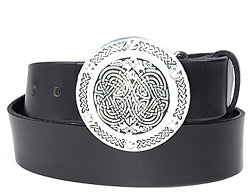 Round Celtic belt buckle with embossed design.  This buckle has a hinged bar for the belt to clip onto and the other end has a strong prong to push through the hole in the belt.