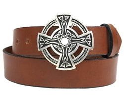 Pewter Celtic Cross buckle with embossed design and cut-outs. This buckle has a hinged bar for the belt to clip onto and the other end has a strong prong to push through the hole in the belt.