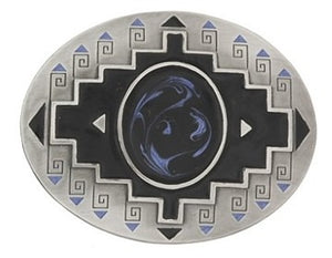"Oval silver buckle with a blue swirl design in the middle and black detail and design. Back of buckle features an eagle on the belt loop. Vintage 1995.  Belt loop measurement: 1.5"" or 1.75'"