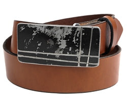 This black silver horizontal belt buckle has designs vertically and horizontally.  Belt loop width measurement: 1.75""