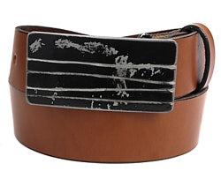 Black horizontal belt buckle with line design going horizontally across the buckle.    Belt loop width measurement: 1.75""