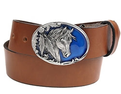 "Oval silver belt buckle featuring a horse head with two feathers on a blue background, with scroll work around the buckle.  Back of buckle is detailed.   Belt loop width measurement: 1.5"" and 1.75"""