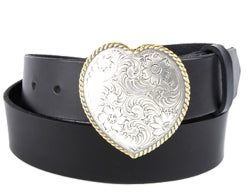 Western style single heart silver buckle with filigree design and a gold twisted rope border.