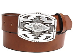 Navajo sterling silver horizontal belt buckle.  The buckle features hand stamped sun burst designs.