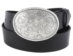 "Filigree silver twisted rope oval buckle, a Western cut with vines and flower design.   Belt loop measurement: 1.5"" or 1.75"""