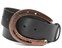 This belt buckle is made out of a Pony Shoe. If you love horses, this belt buckle is for you. Available in black or copper  Belt loop width measurement: 1.75""