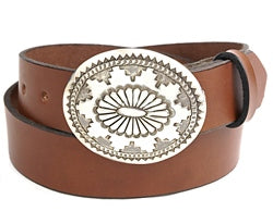 Navajo sterling silver oval belt buckle.  The buckle is covered with complex, deep, hand stamped designs.  Belt loop width measurement: 1.5""