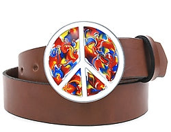 The original Peace & Love Symbol psychedelic belt buckle. Solid alloy metal, made by Bergamot Metal.