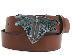 Art Deco Silver metal Dragonfly colored belt buckle. Hand painted with greens and blues.   Made in the USA by Bergamot Art Foundry.