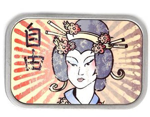 "Silver horizontal belt buckle, full color front with Geisha in front of a sunburst.   Belt loop measurement: 1.5"" or 1.75'"
