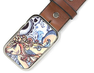 "Colorful mermaid on a horizontal silver buckle.   Belt loop measurement: 1.5"" or 1.75'"