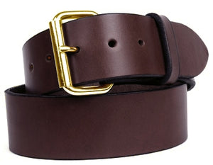 Double thick harness custom leather belt with brass buckle