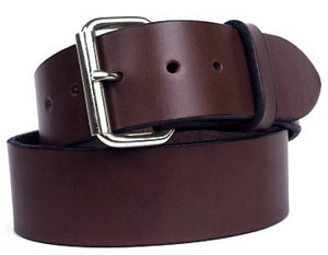 Double thick harness custom leather belt with silver buckle