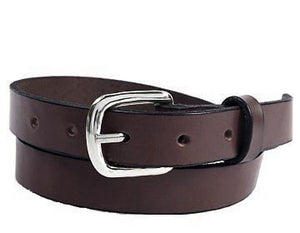 "Plain Leather Custom Belt Chocolate .75"" wide"