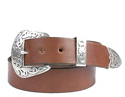Western Abilene Silver buckle set includes: Buckle, Keeper and Tip.