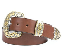 Western Beaumont Silver and Gold buckle set includes: Buckle, Keeper and Tip.