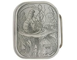 "If you love Alice In Wonderland, this silver vertical belt buckle is for you.  Made in the USA by  Bergamot ""...Who are you?"" Said the caterpillar    The back of the buckle reads: ""...Who are you?"" Said the caterpillar"
