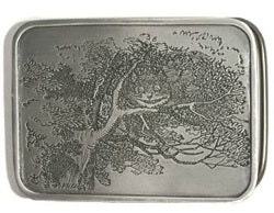 "If you love Alice In Wonderland, this silver horizontal belt buckle featuring the Cheshire Cat is for you.  Made in the USA by Bergamot.     The back of the buckle reads: ""Well! I've often seen a cat within a grin,"" thought Alice, ""But A Grin Without a cat! It's the most curious thing I ever say in my life!"""
