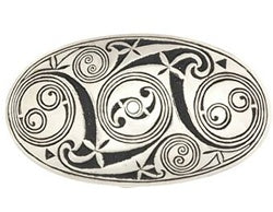 The spiral oval design is fashioned after the Spirals found in the ancient Lindisfarne manuscript. Pewter, made in the United Kingdom.